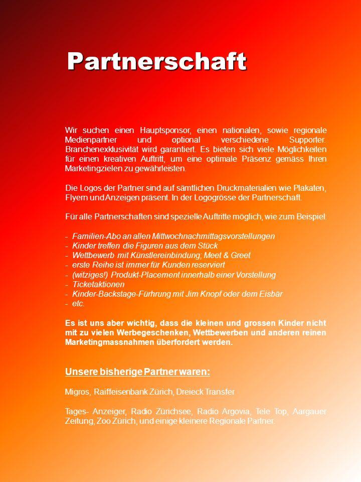 Partnerschaft Wir suchen einen Hauptsponsor, einen nationalen, sowie regionale Medienpartner und optional verschiedene Supporter.