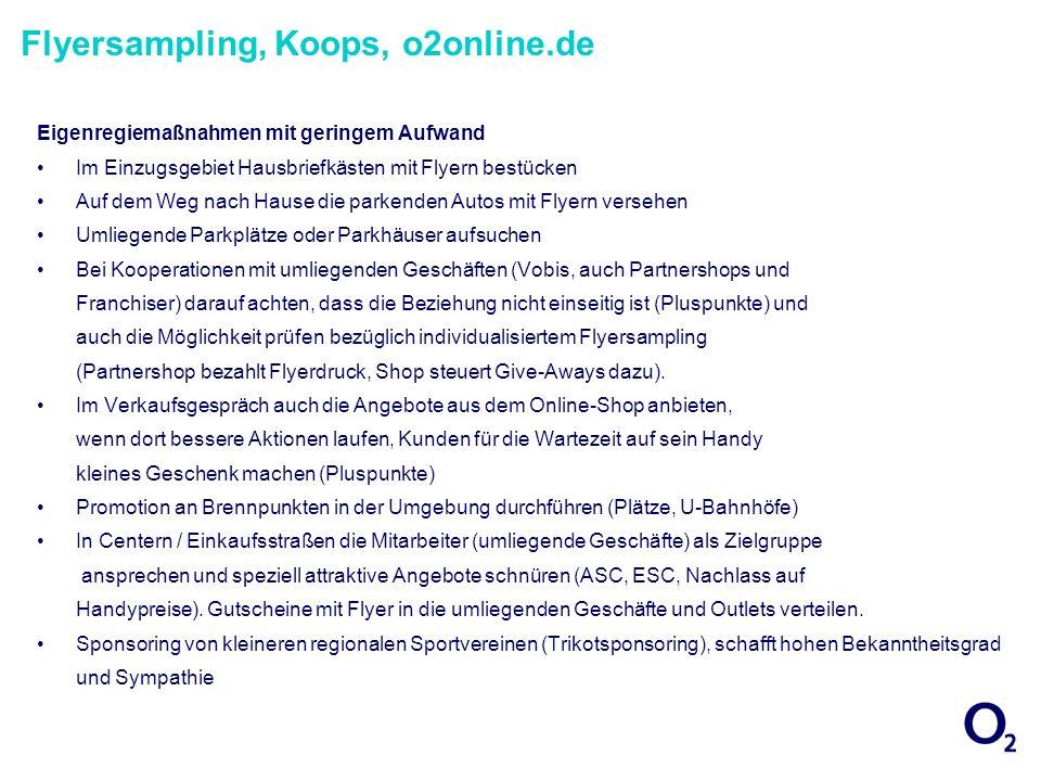 Flyersampling, Koops, o2online.de Eigenregiemaßnahmen mit geringem Aufwand Im Einzugsgebiet Hausbriefkästen mit Flyern bestücken Auf dem Weg nach Haus