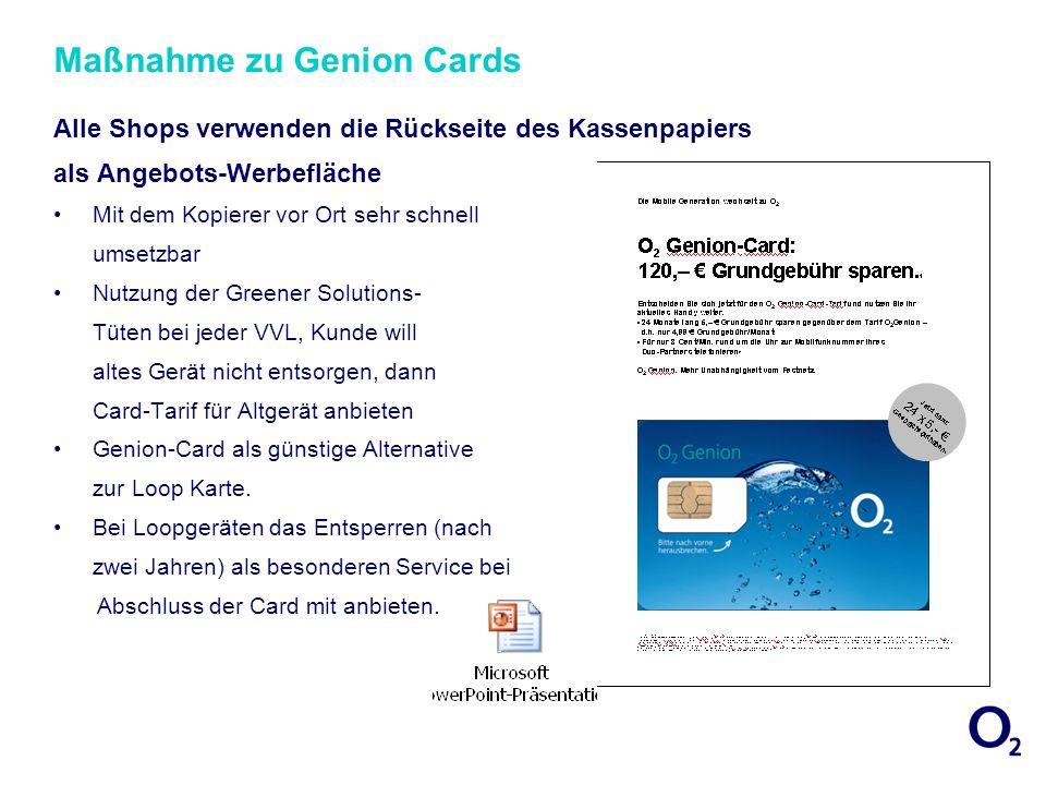 Maßnahme zu Genion Cards Alle Shops verwenden die Rückseite des Kassenpapiers als Angebots-Werbefläche Mit dem Kopierer vor Ort sehr schnell umsetzbar