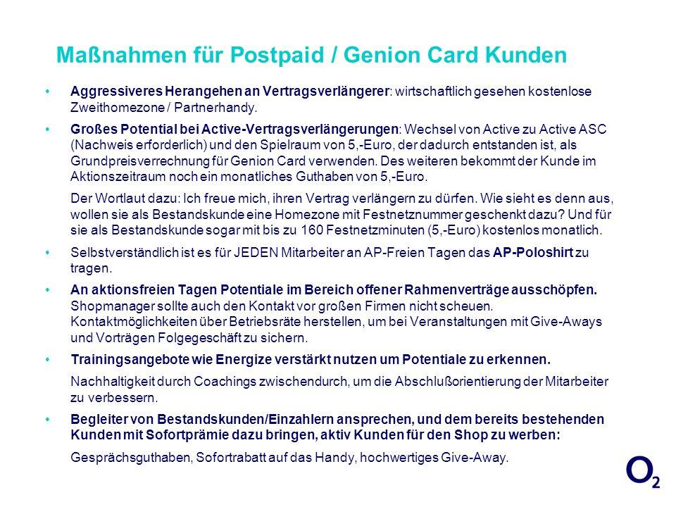 Maßnahmen für Postpaid / Genion Card Kunden Aggressiveres Herangehen an Vertragsverlängerer: wirtschaftlich gesehen kostenlose Zweithomezone / Partner