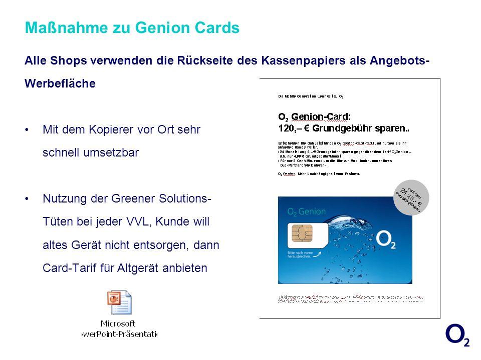 Maßnahme zu Genion Cards Alle Shops verwenden die Rückseite des Kassenpapiers als Angebots- Werbefläche Mit dem Kopierer vor Ort sehr schnell umsetzba