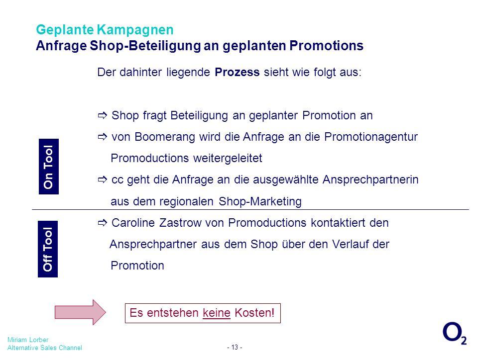 Miriam Lorber Alternative Sales Channel - 13 - Der dahinter liegende Prozess sieht wie folgt aus: Shop fragt Beteiligung an geplanter Promotion an von