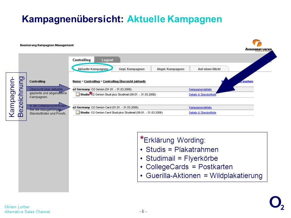 Miriam Lorber Alternative Sales Channel - 6 - Kampagnenübersicht: Aktuelle Kampagnen * Erklärung Wording: Studis = Plakatrahmen Studimail = Flyerkörbe