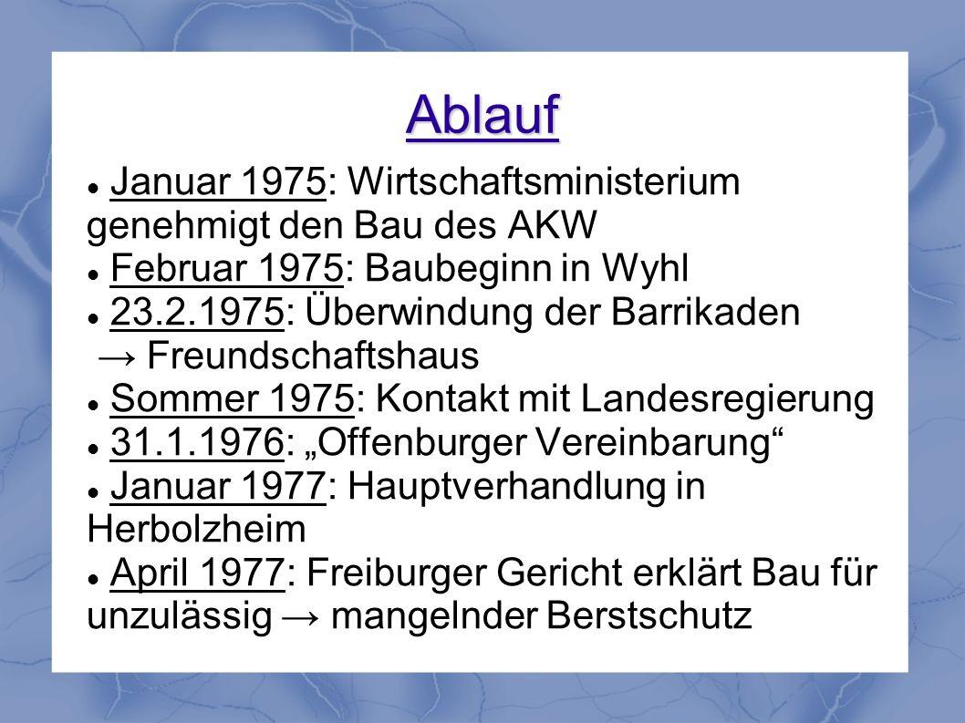 Ablauf Januar 1975: Wirtschaftsministerium genehmigt den Bau des AKW Februar 1975: Baubeginn in Wyhl 23.2.1975: Überwindung der Barrikaden Freundschaf