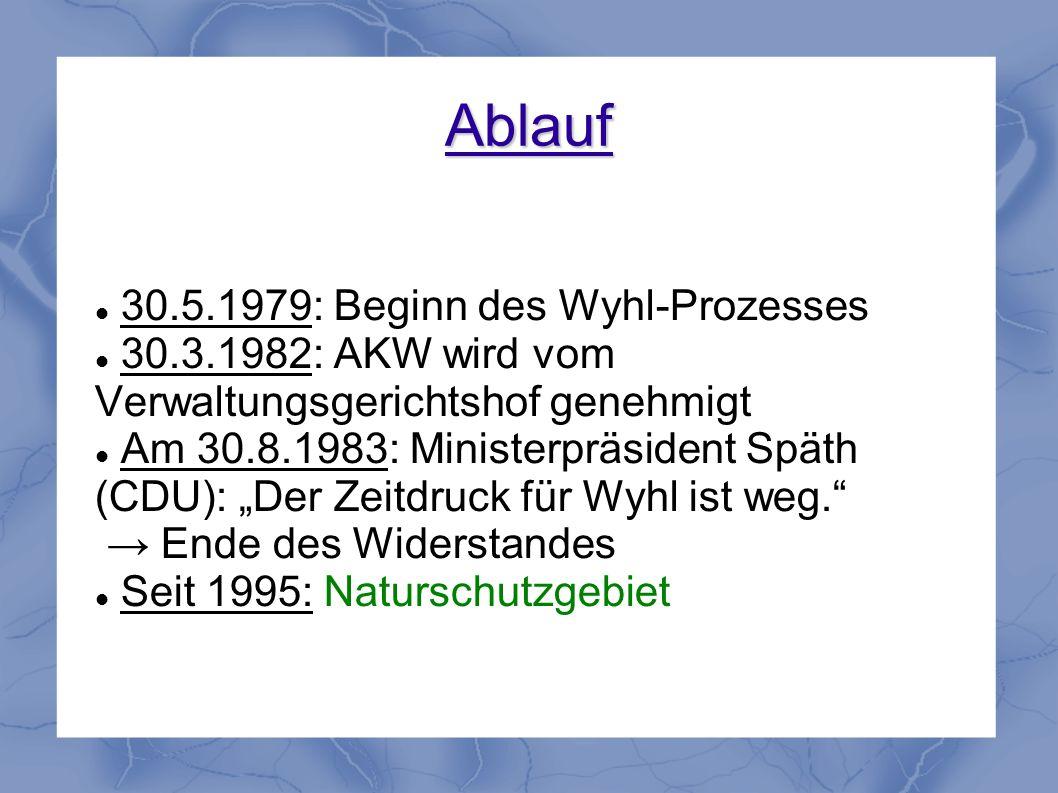 Ablauf 30.5.1979: Beginn des Wyhl-Prozesses 30.3.1982: AKW wird vom Verwaltungsgerichtshof genehmigt Am 30.8.1983: Ministerpräsident Späth (CDU): Der