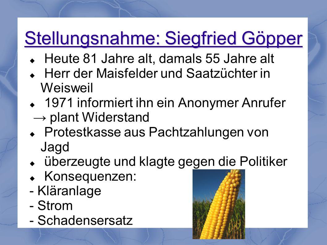 Stellungsnahme: Siegfried Göpper Heute 81 Jahre alt, damals 55 Jahre alt Herr der Maisfelder und Saatzüchter in Weisweil 1971 informiert ihn ein Anony