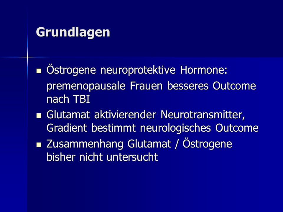 Grundlagen Östrogene neuroprotektive Hormone: Östrogene neuroprotektive Hormone: premenopausale Frauen besseres Outcome nach TBI Glutamat aktivierende
