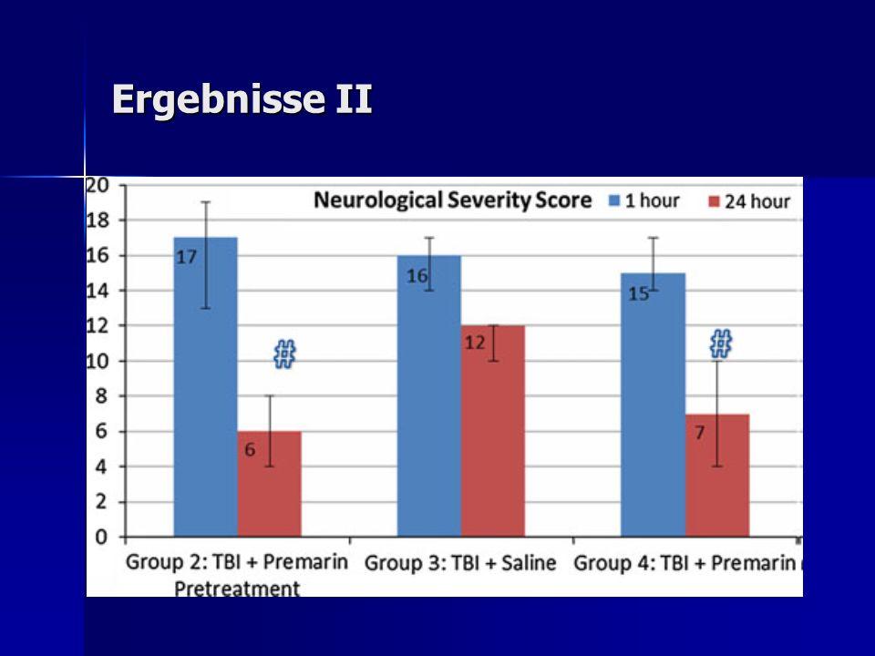 Diskussion I Glutamatspiegelverlauf: Glutamatspiegelverlauf: Reduktion ohne Therapie (Sympathikusaktivierung -> Efflux - > spontane Besserung) Überschiessen (Metabolismus überfordert, Ausschwemmung) Glutamatreduktion: Glutamatreduktion: Abbau im Blut (GOT, GPT) -> Gradient (15% Reduktion ausreichend) Glutamatinjektion/Enzymblockade limitieren spontane neuroligische Besserung Östrogen/Glutamat: Östrogen/Glutamat: Anstieg Blutöstrogen = Reduktion Blutglutamat Zeitpunkt (60), da Glutamatanstieg nicht länger als 2h