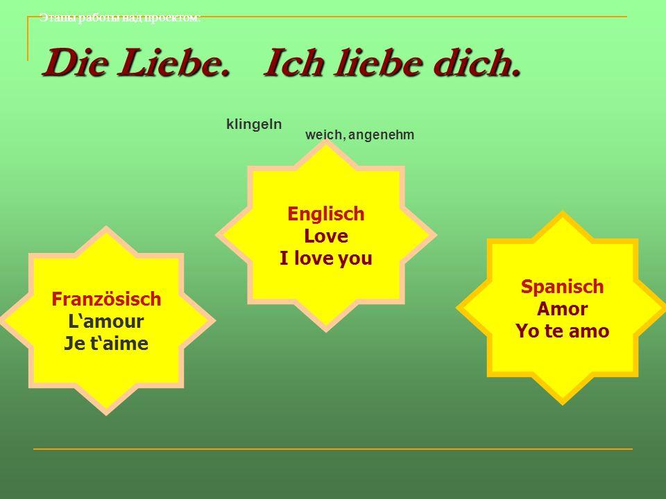 Die Liebe. Ich liebe dich. Spanisch Amor Yo te amo Französisch Lamour Je taime Englisch Love I love you klingeln weich, angenehm Этапы работы над прое