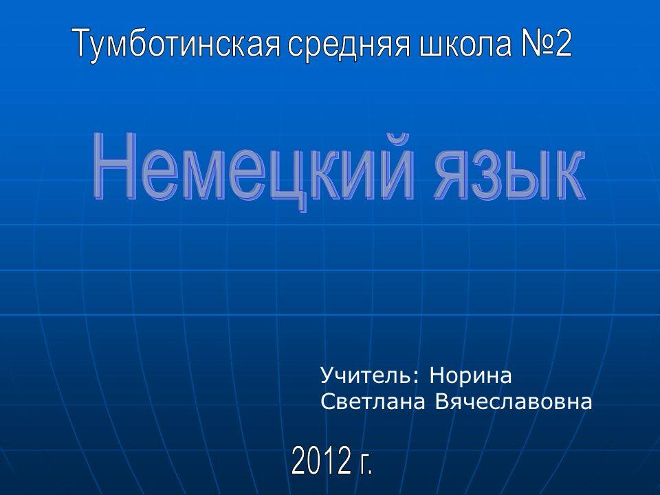 Учитель: Норина Светлана Вячеславовна