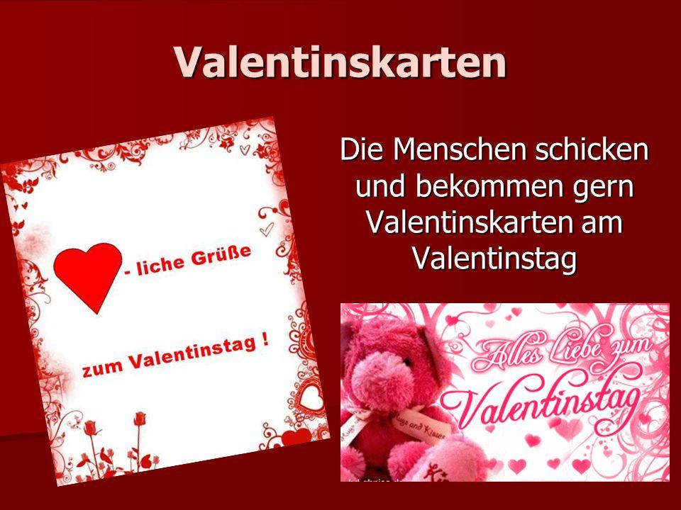 Valentinskarten Die Menschen schicken und bekommen gern Valentinskarten am Valentinstag