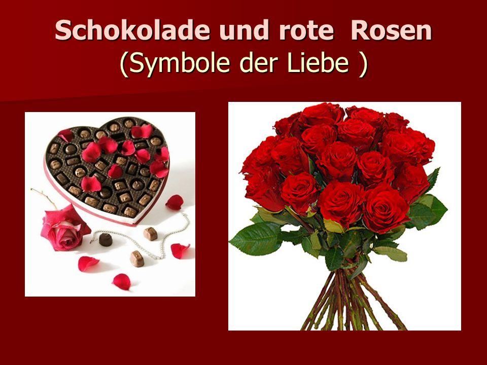 Schokolade und rote Rosen (Symbole der Liebe )
