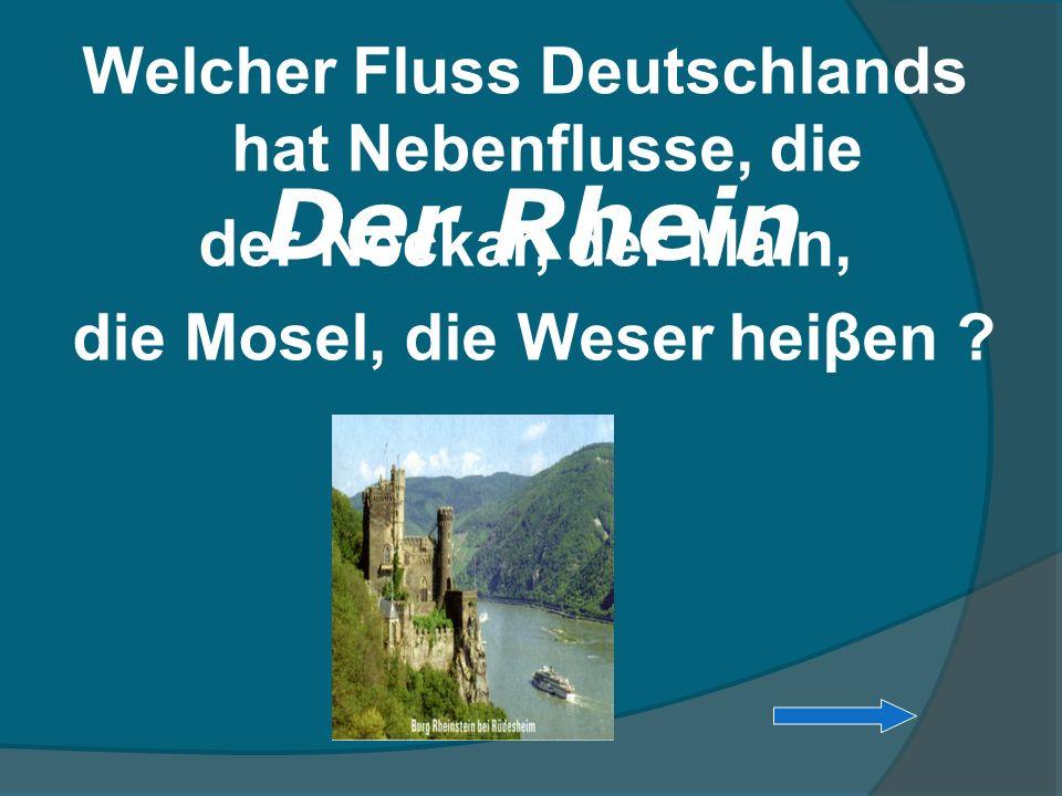 Welcher Fluss Deutschlands hat Nebenflusse, die der Neckar, der Main, die Mosel, die Weser heiβen ? Der Rhein