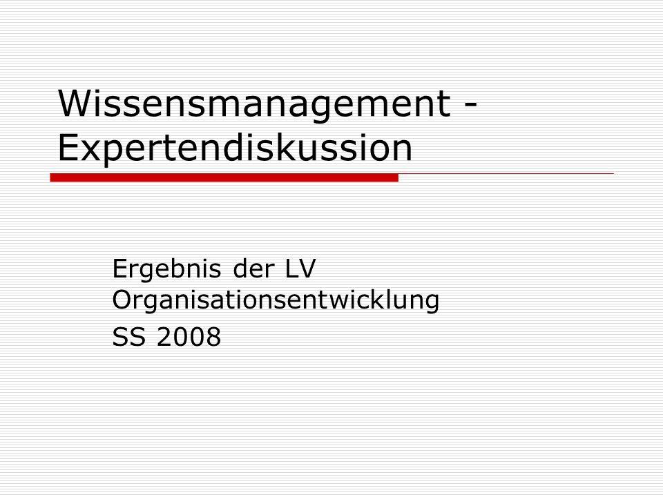 Wissensmanagement - Expertendiskussion Ergebnis der LV Organisationsentwicklung SS 2008