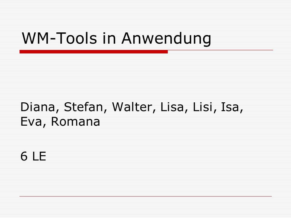 WM-Tools in Anwendung Diana, Stefan, Walter, Lisa, Lisi, Isa, Eva, Romana 6 LE