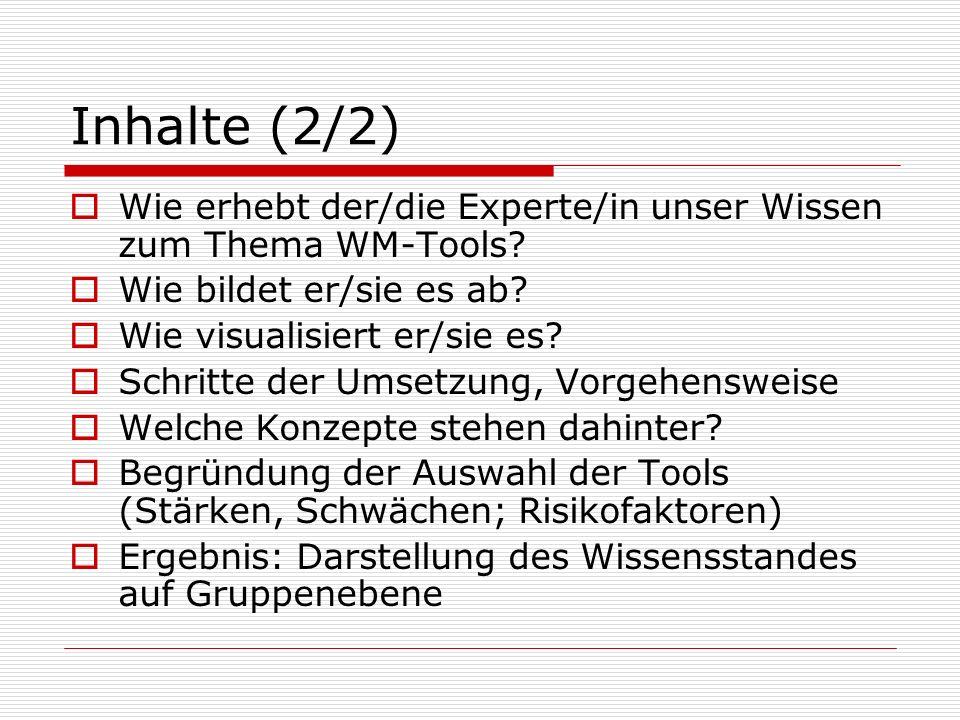 Inhalte (2/2) Wie erhebt der/die Experte/in unser Wissen zum Thema WM-Tools? Wie bildet er/sie es ab? Wie visualisiert er/sie es? Schritte der Umsetzu