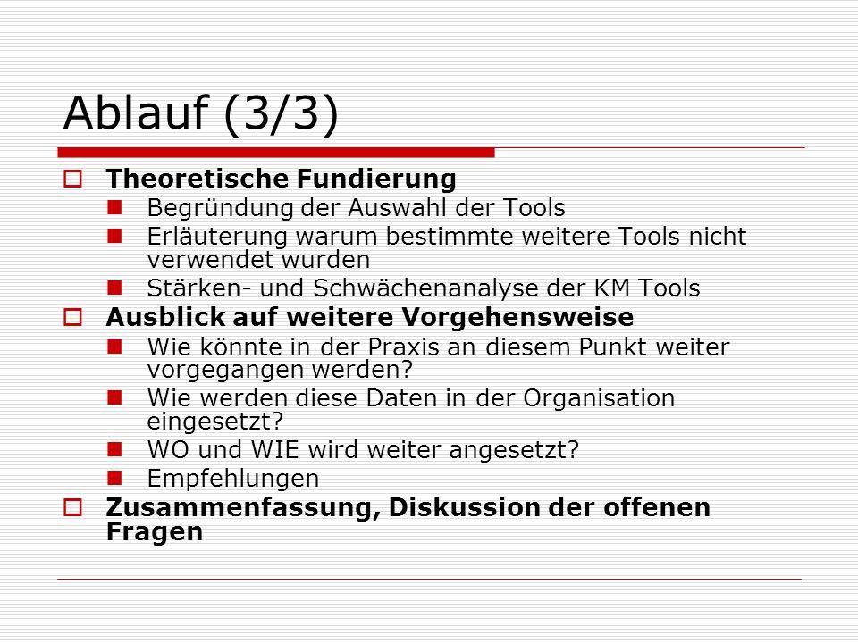 Ablauf (3/3) Theoretische Fundierung Begründung der Auswahl der Tools Erläuterung warum bestimmte weitere Tools nicht verwendet wurden Stärken- und Sc