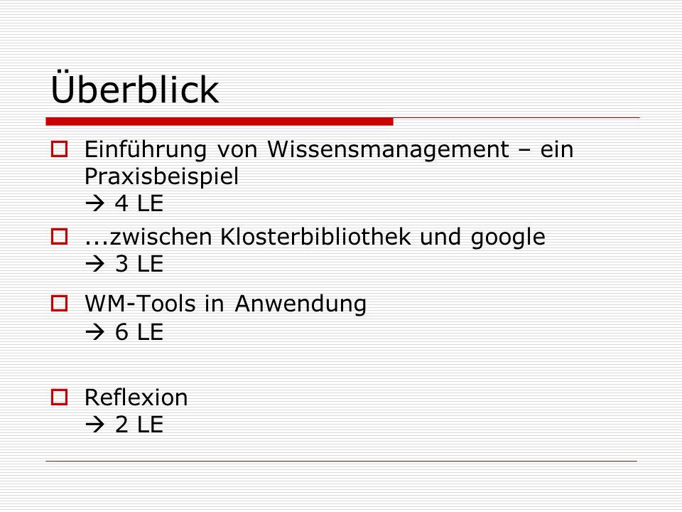 Überblick Einführung von Wissensmanagement – ein Praxisbeispiel 4 LE...zwischen Klosterbibliothek und google 3 LE WM-Tools in Anwendung 6 LE Reflexion