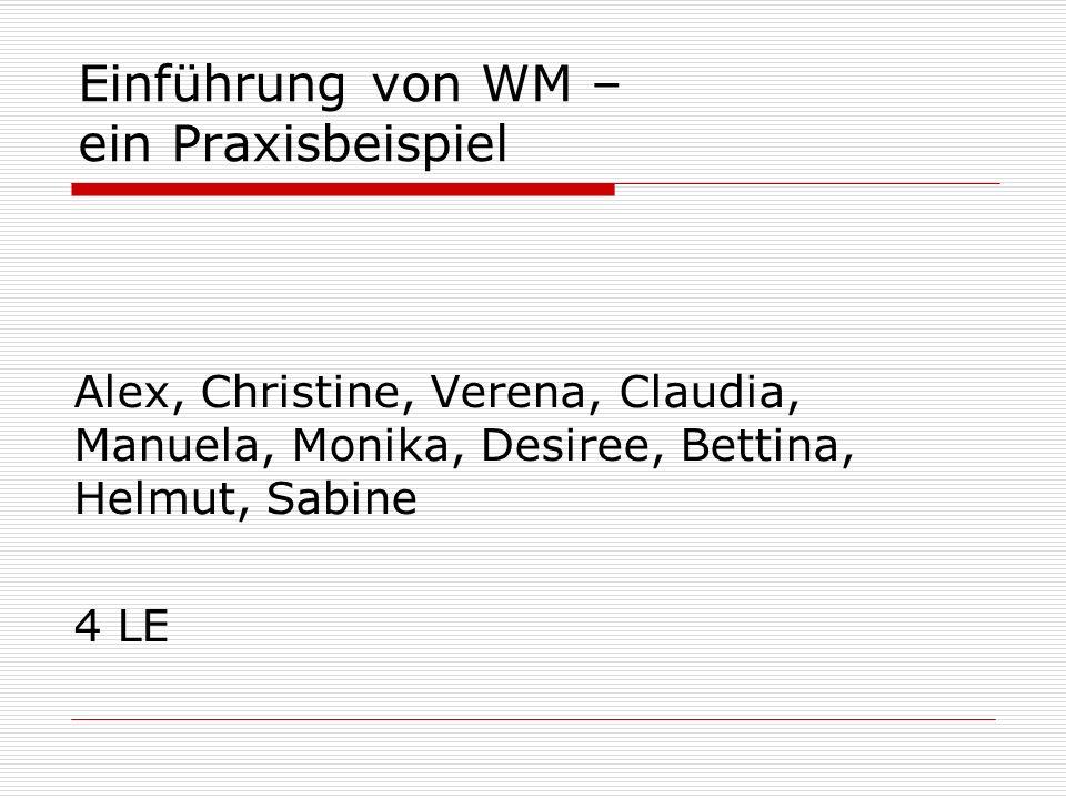 Einführung von WM – ein Praxisbeispiel Alex, Christine, Verena, Claudia, Manuela, Monika, Desiree, Bettina, Helmut, Sabine 4 LE