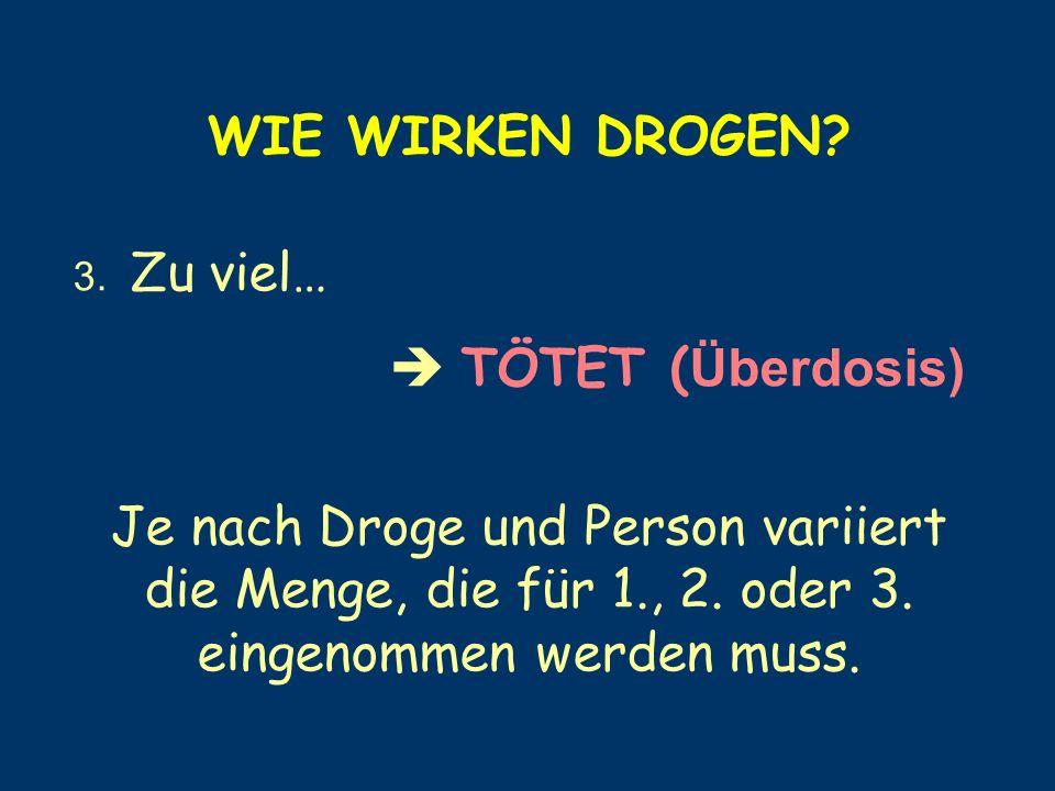 WIE WIRKEN DROGEN? 3. Zu viel… TÖTET ( Überdosis) Je nach Droge und Person variiert die Menge, die für 1., 2. oder 3. eingenommen werden muss.