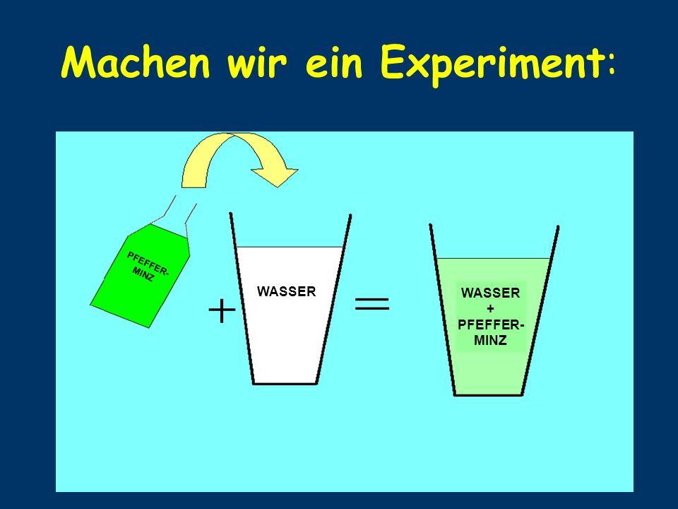 Machen wir ein Experiment: PFEFFER- MINZ WASSER + PFEFFER- MINZ