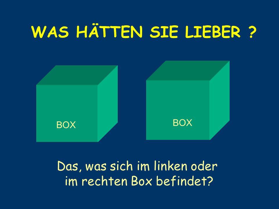 WAS HÄTTEN SIE LIEBER ? BOX Das, was sich im linken oder im rechten Box befindet?