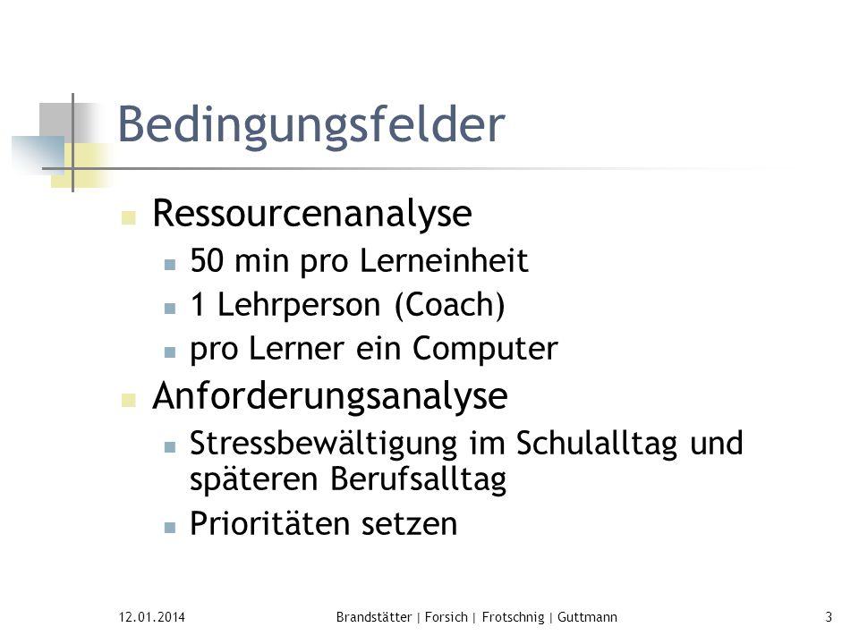 12.01.2014Brandstätter | Forsich | Frotschnig | Guttmann3 Bedingungsfelder Ressourcenanalyse 50 min pro Lerneinheit 1 Lehrperson (Coach) pro Lerner ei