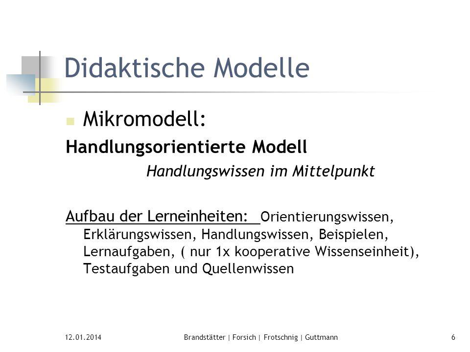 12.01.2014Brandstätter | Forsich | Frotschnig | Guttmann6 Didaktische Modelle Mikromodell: Handlungsorientierte Modell Handlungswissen im Mittelpunkt