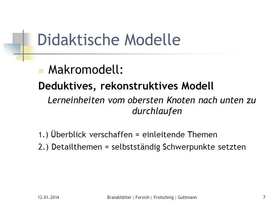 12.01.2014Brandstätter | Forsich | Frotschnig | Guttmann7 Didaktische Modelle Makromodell: Deduktives, rekonstruktives Modell Lerneinheiten vom oberst