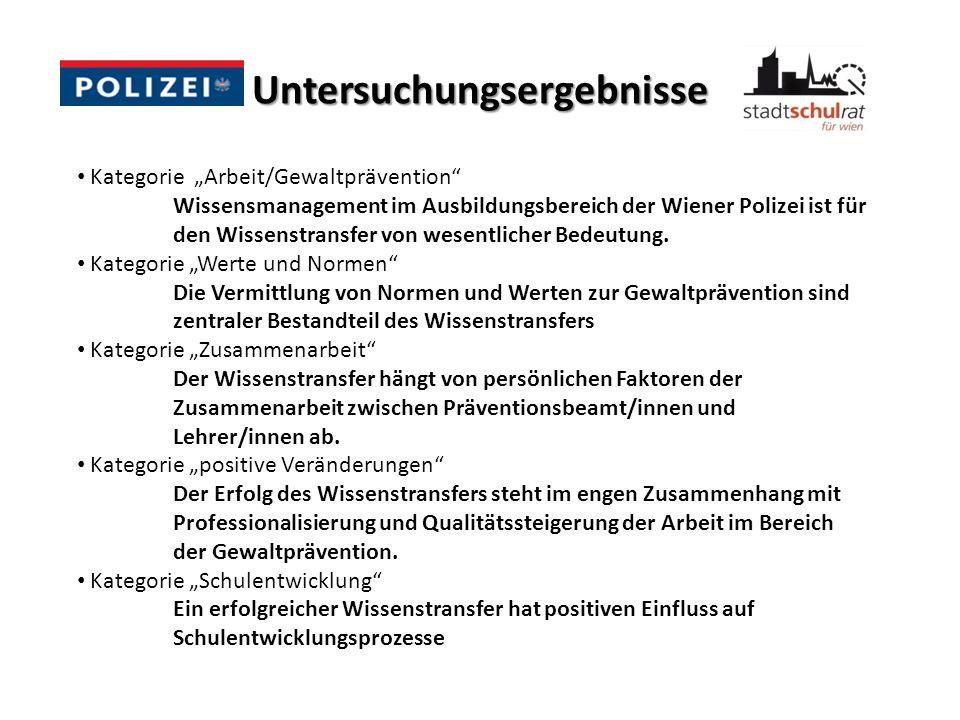 Untersuchungsergebnisse Kategorie Arbeit/Gewaltprävention Wissensmanagement im Ausbildungsbereich der Wiener Polizei ist für den Wissenstransfer von w