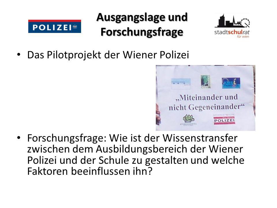 Ausgangslage und Forschungsfrage Das Pilotprojekt der Wiener Polizei Forschungsfrage: Wie ist der Wissenstransfer zwischen dem Ausbildungsbereich der