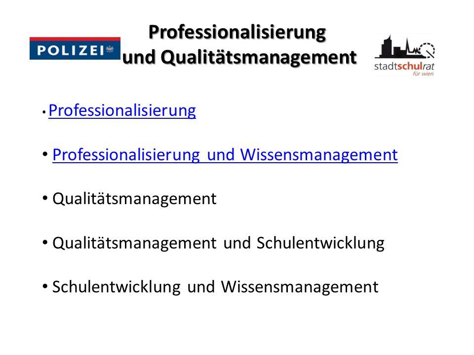 Professionalisierung und Qualitätsmanagement Professionalisierung Professionalisierung und Wissensmanagement Qualitätsmanagement Qualitätsmanagement u