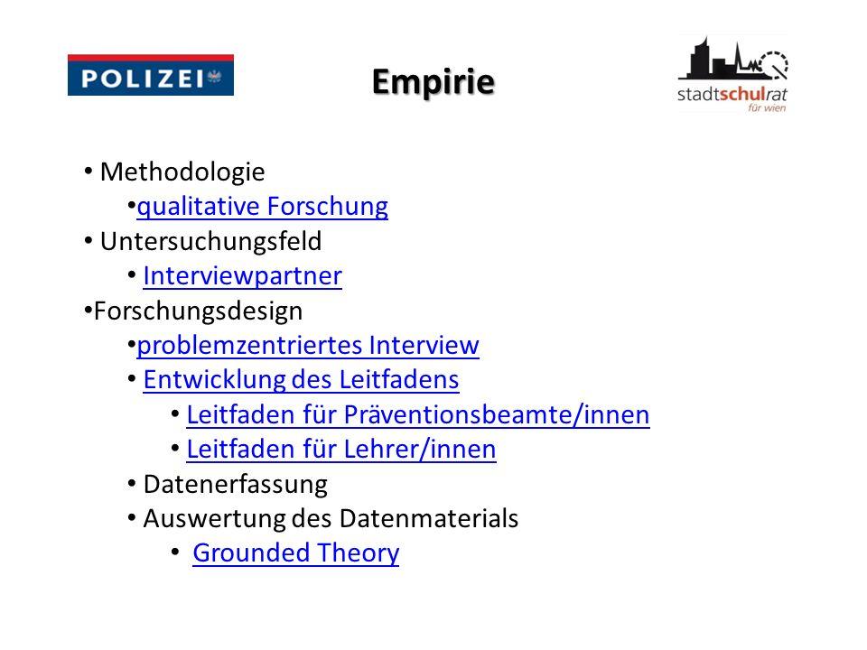Untersuchungsergebnisse Kategorie Arbeit/Gewaltprävention Wissensmanagement im Ausbildungsbereich der Wiener Polizei ist für den Wissenstransfer von wesentlicher Bedeutung.