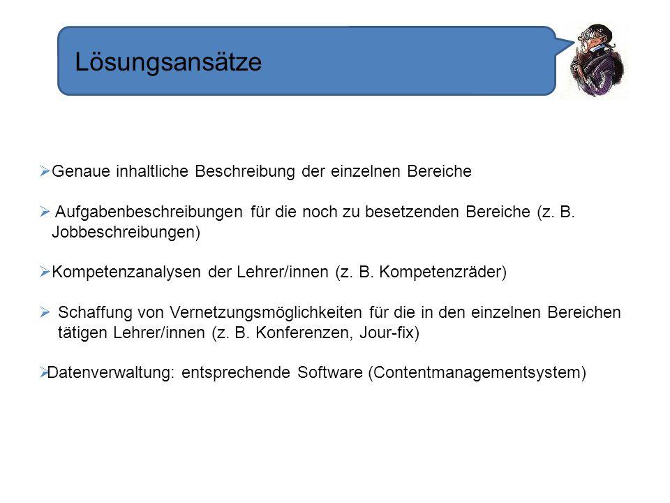 Lösungsansätze Genaue inhaltliche Beschreibung der einzelnen Bereiche Aufgabenbeschreibungen für die noch zu besetzenden Bereiche (z. B. Jobbeschreibu