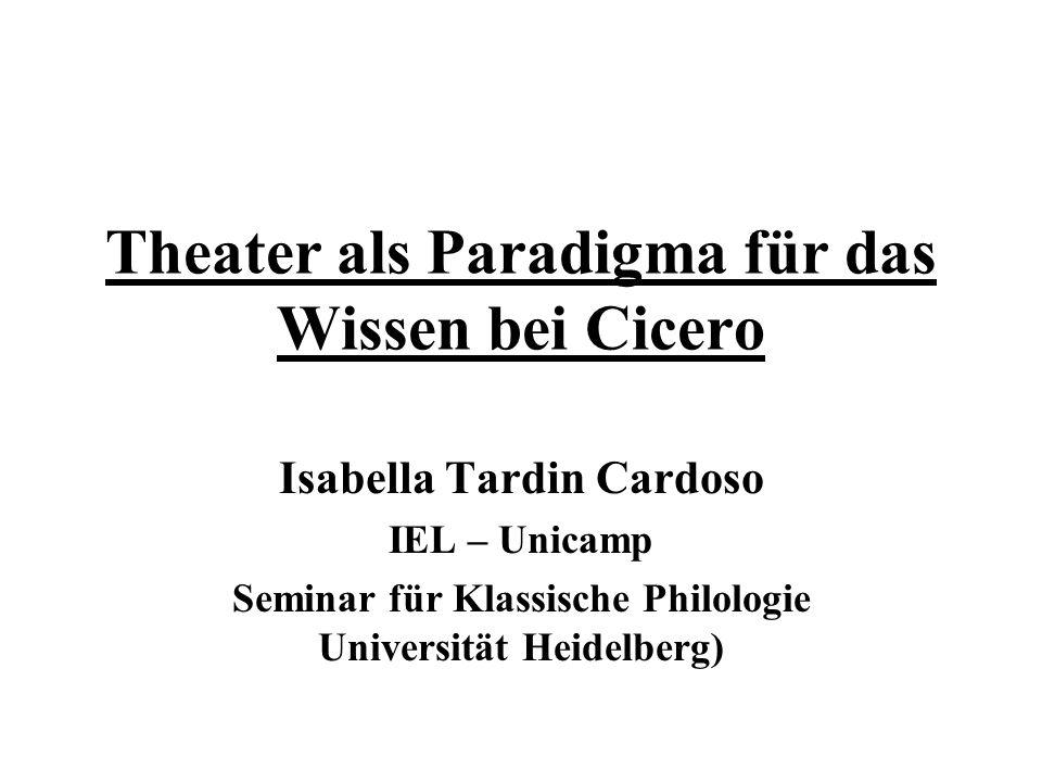 Theater als Paradigma für das Wissen bei Cicero Isabella Tardin Cardoso IEL – Unicamp Seminar für Klassische Philologie Universität Heidelberg)