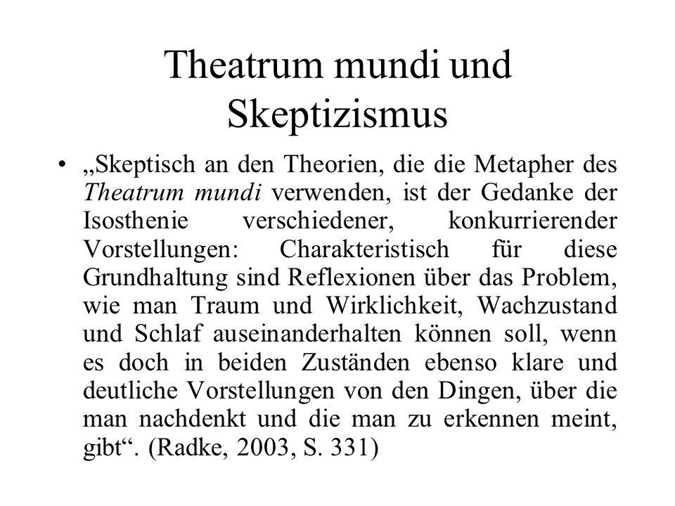 Theatrum mundi und Skeptizismus Skeptisch an den Theorien, die die Metapher des Theatrum mundi verwenden, ist der Gedanke der Isosthenie verschiedener
