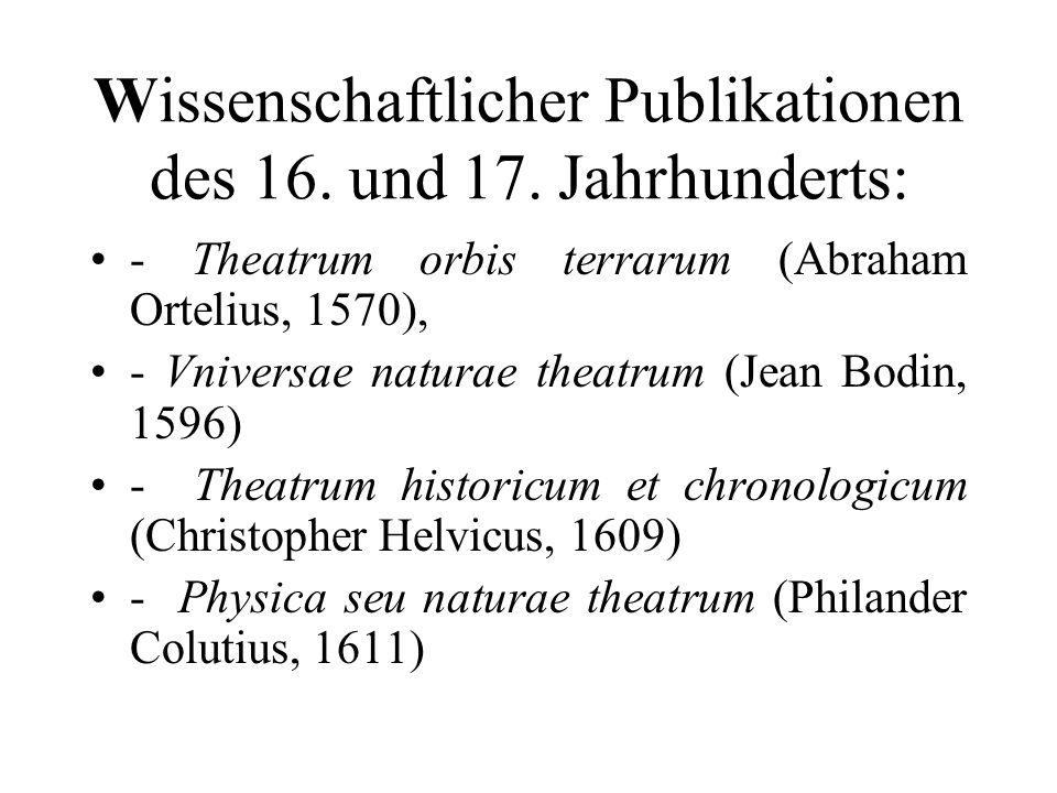 Wissenschaftlicher Publikationen des 16. und 17. Jahrhunderts: - Theatrum orbis terrarum (Abraham Ortelius, 1570), - Vniversae naturae theatrum (Jean