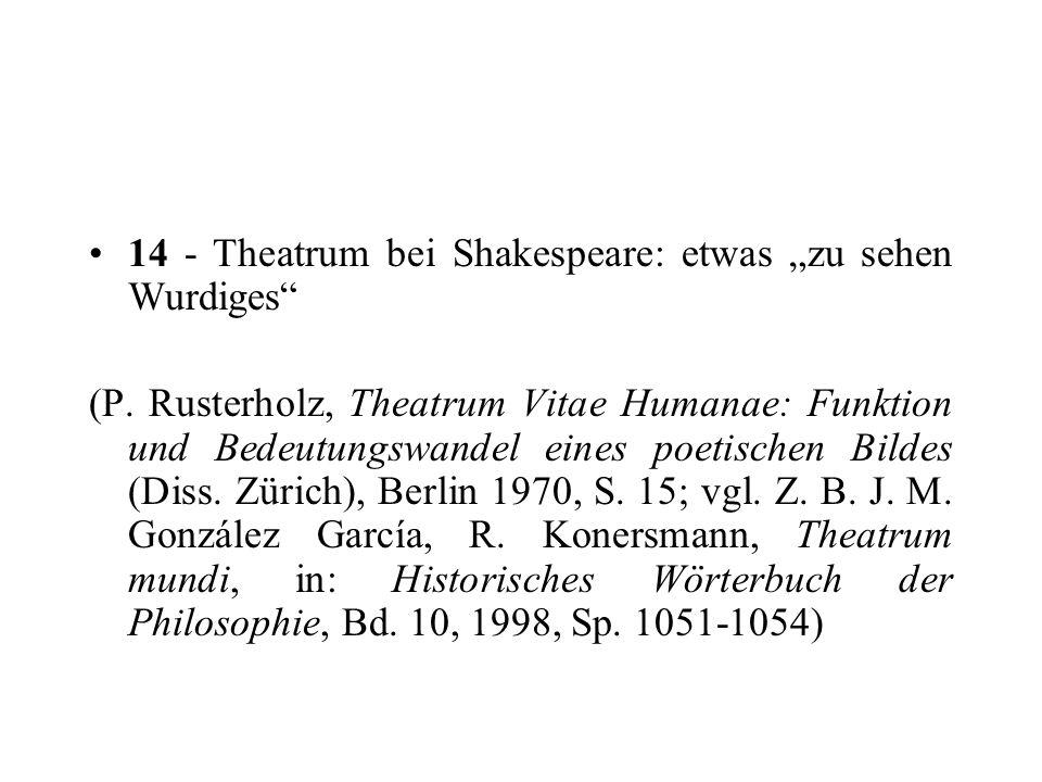 14 - Theatrum bei Shakespeare: etwas zu sehen Wurdiges (P. Rusterholz, Theatrum Vitae Humanae: Funktion und Bedeutungswandel eines poetischen Bildes (
