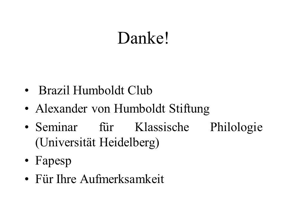 Danke! Brazil Humboldt Club Alexander von Humboldt Stiftung Seminar für Klassische Philologie (Universität Heidelberg) Fapesp Für Ihre Aufmerksamkeit