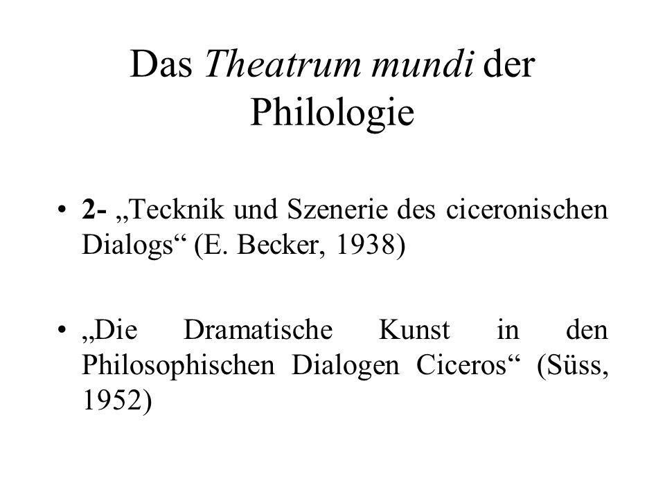 Das Theatrum mundi der Philologie 2- Tecknik und Szenerie des ciceronischen Dialogs (E. Becker, 1938) Die Dramatische Kunst in den Philosophischen Dia