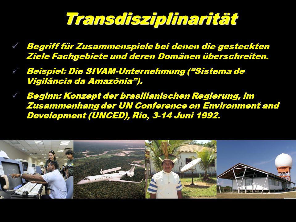 Transdisziplinarität Begriff für Zusammenspiele bei denen die gesteckten Ziele Fachgebiete und deren Domänen überschreiten. Beispiel: Die SIVAM-Untern