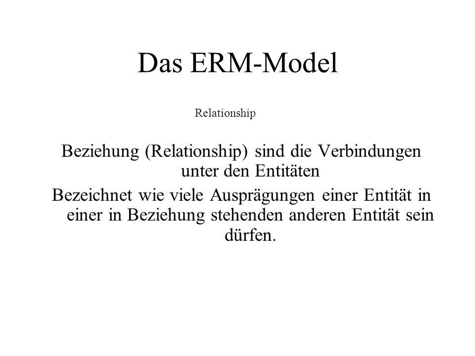 Das ERM-Model Beziehung (Relationship) sind die Verbindungen unter den Entitäten Bezeichnet wie viele Ausprägungen einer Entität in einer in Beziehung
