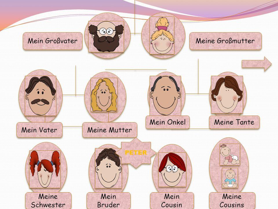 Mein Großvater Meine Großmutter Mein Vater Meine Mutter Mein Onkel Meine Tante Meine Schwester Mein Bruder Mein Cousin Meine Cousins PETER