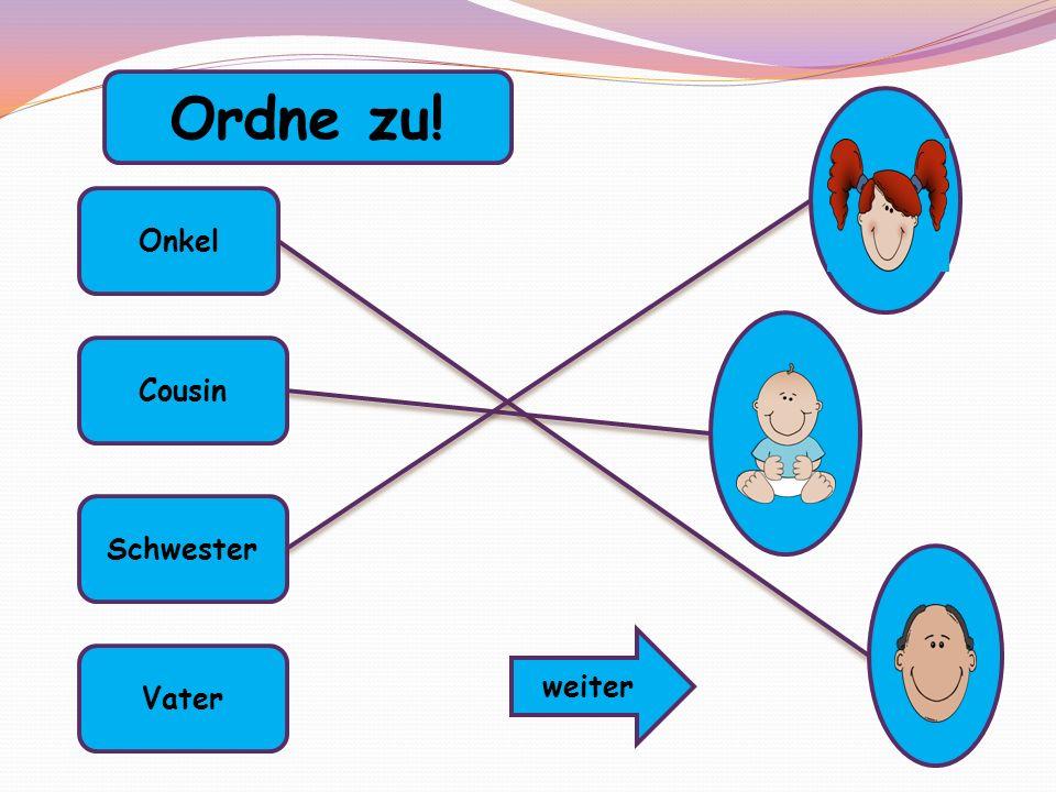 Onkel Cousin Schwester Vater Ordne zu! weiter