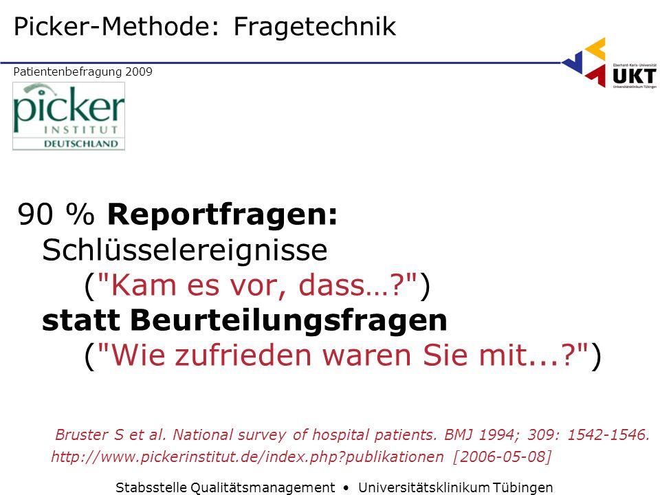 Patientenbefragung 2009 Stabsstelle Qualitätsmanagement Universitätsklinikum Tübingen 90 % Reportfragen: Schlüsselereignisse (