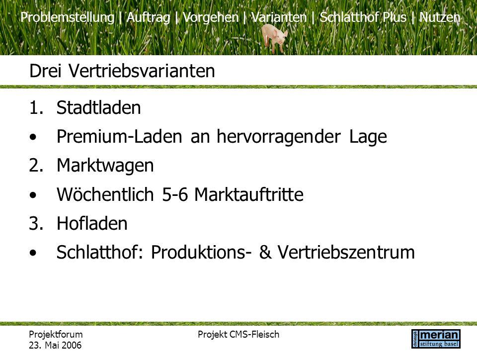 Problemstellung | Auftrag | Vorgehen | Varianten | Schlatthof Plus | Nutzen Projektforum 23. Mai 2006 Projekt CMS-Fleisch Drei Vertriebsvarianten 1.St