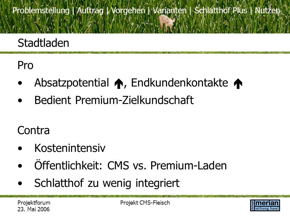 Problemstellung | Auftrag | Vorgehen | Varianten | Schlatthof Plus | Nutzen Projektforum 23. Mai 2006 Projekt CMS-Fleisch Stadtladen Pro Absatzpotenti