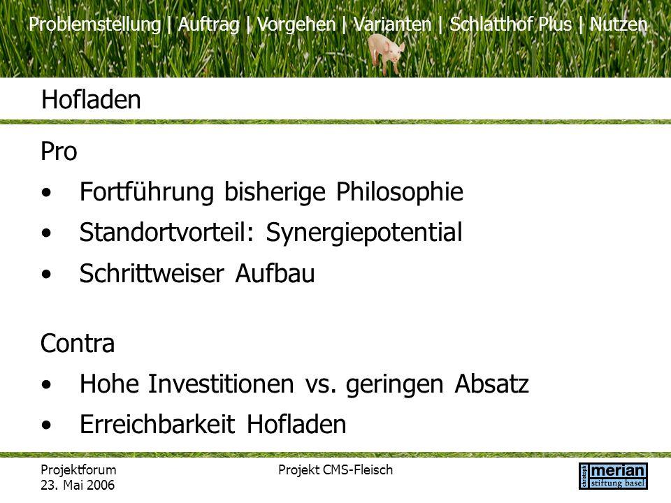 Problemstellung | Auftrag | Vorgehen | Varianten | Schlatthof Plus | Nutzen Projektforum 23. Mai 2006 Projekt CMS-Fleisch Hofladen Pro Fortführung bis