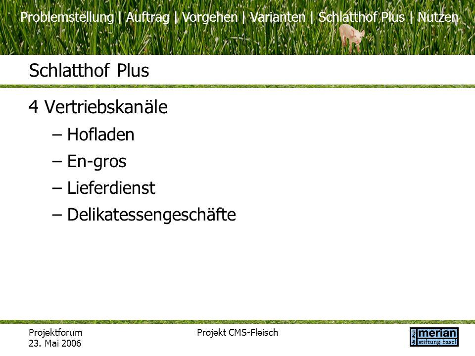 Problemstellung | Auftrag | Vorgehen | Varianten | Schlatthof Plus | Nutzen Projektforum 23. Mai 2006 Projekt CMS-Fleisch Schlatthof Plus 4 Vertriebsk
