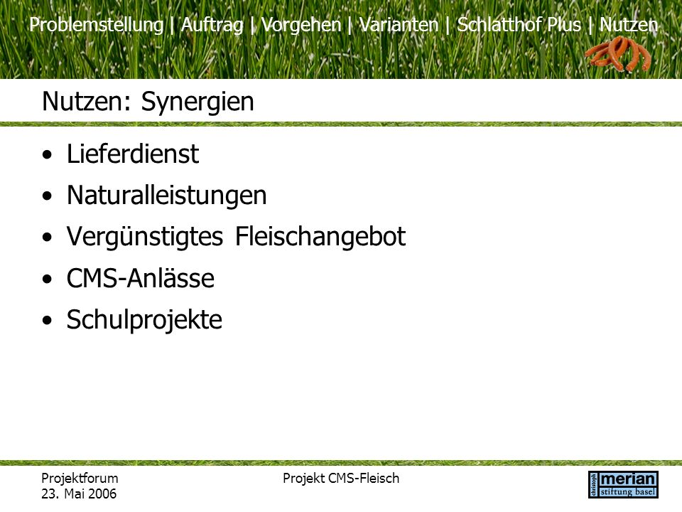 Problemstellung | Auftrag | Vorgehen | Varianten | Schlatthof Plus | Nutzen Projektforum 23. Mai 2006 Projekt CMS-Fleisch Nutzen: Synergien Lieferdien
